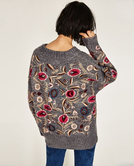 Image 6 Of Floral Embroidered Oversized Sweater From Zara