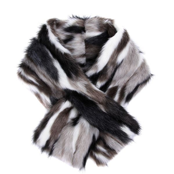 Flow The Label Faux Fur Short Scarf (285 BRL) ❤ liked on Polyvore featuring accessories, scarves, short scarves, faux fur scarves, fake fur scarves, colorful shawl and faux fur shawl