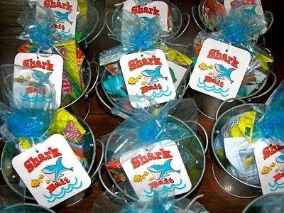 "Party Favors - Swedish Fish are ""Shark Bait""!  So cute!"