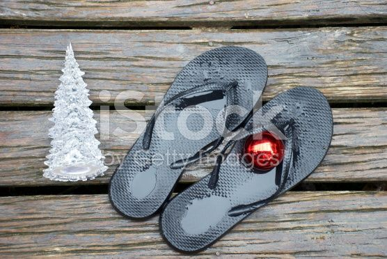 Kiwiana Christmas, Jandals, Bauble and Christmas Tree royalty-free stock photo
