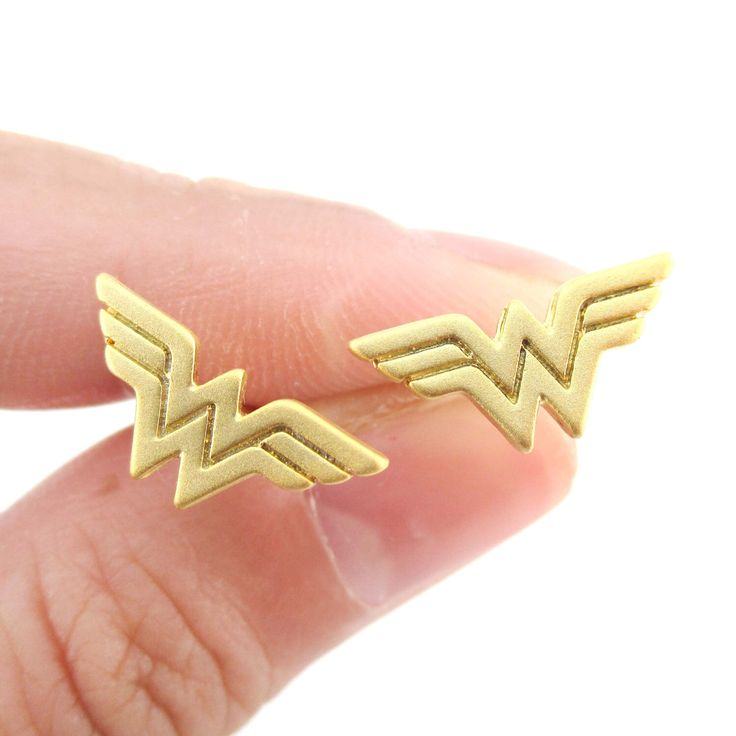 DC Heroes Wonder Woman Logo Shaped Stud Earrings in Gold | Super Heroes Jewelry by AttiJewelry on Etsy https://www.etsy.com/listing/280886472/dc-heroes-wonder-woman-logo-shaped-stud