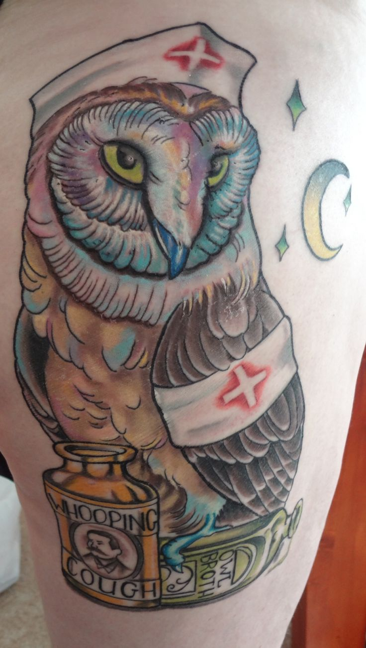 Nurse Owl Tattoo Design