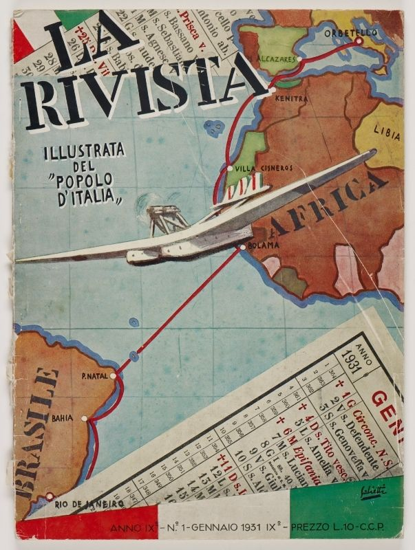 La Rivista, anno IX, n. 1 (Gennaio, 1931), front cover: [Illustration of a map of the Mediterranean and the Atlantic with a seaplane (Italo Balbo's) crossing from Italy, to Africa, and to the coast of South America, signed] Salietti