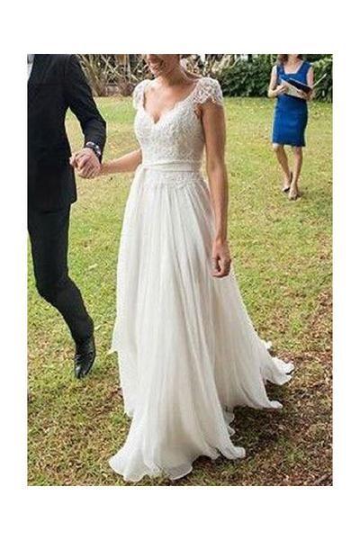 V Neck A Line Cap Sleeves Lace Ivory Chiffon Beach Wedding Dress N09