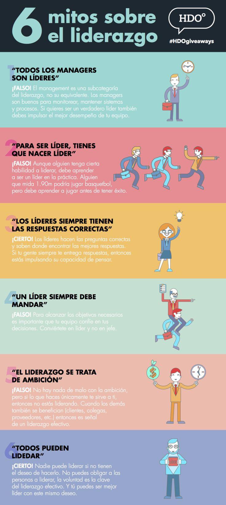 6 mitos sobre el Liderazgo #infografia #infographic #leadership