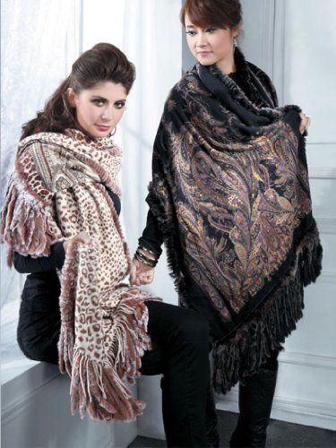SCARF /WRAP- CASHMERE REVERSIBLE PRINTED SHAWL WITH FUR ALL AROUND- FROM CASHMERE PASHMINA GROUP (IVORY) Cashmere Pashmina Group. $239.00