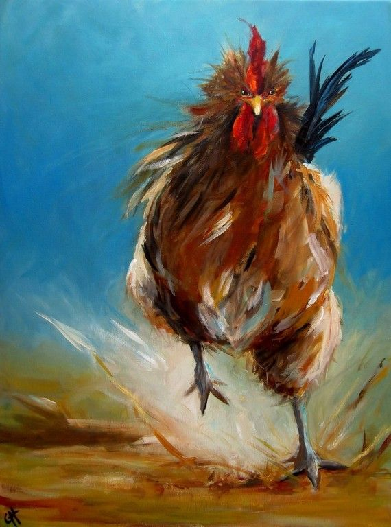 Run, Chicken, Run painting by ArtPaperGarden on Etsy.  I am sure there is a card in this, a mantra in this, and I already got a laugh out of it.