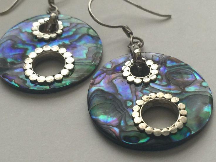 Earrings Mother of Pearl MOP Sterlings Silver Round Earwire Hooks E197 #Unbranded #DropDangle