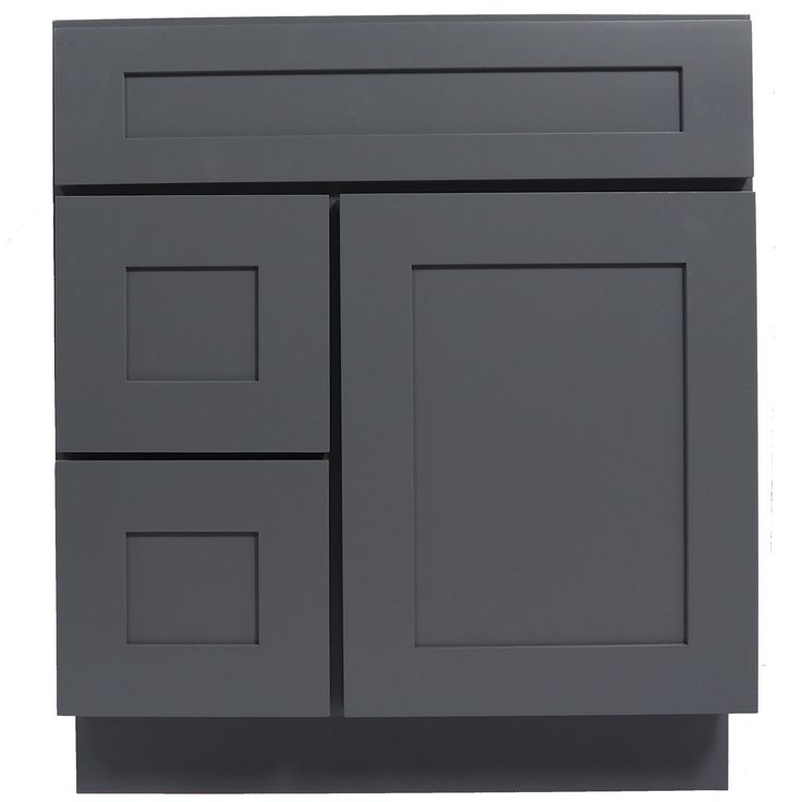 30 Inch Bathroom Vanity Single Sink Cabinet in Shaker Gray with Soft Close Drawers