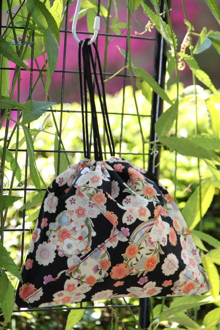 Origami bag in black floral Japanese fabric