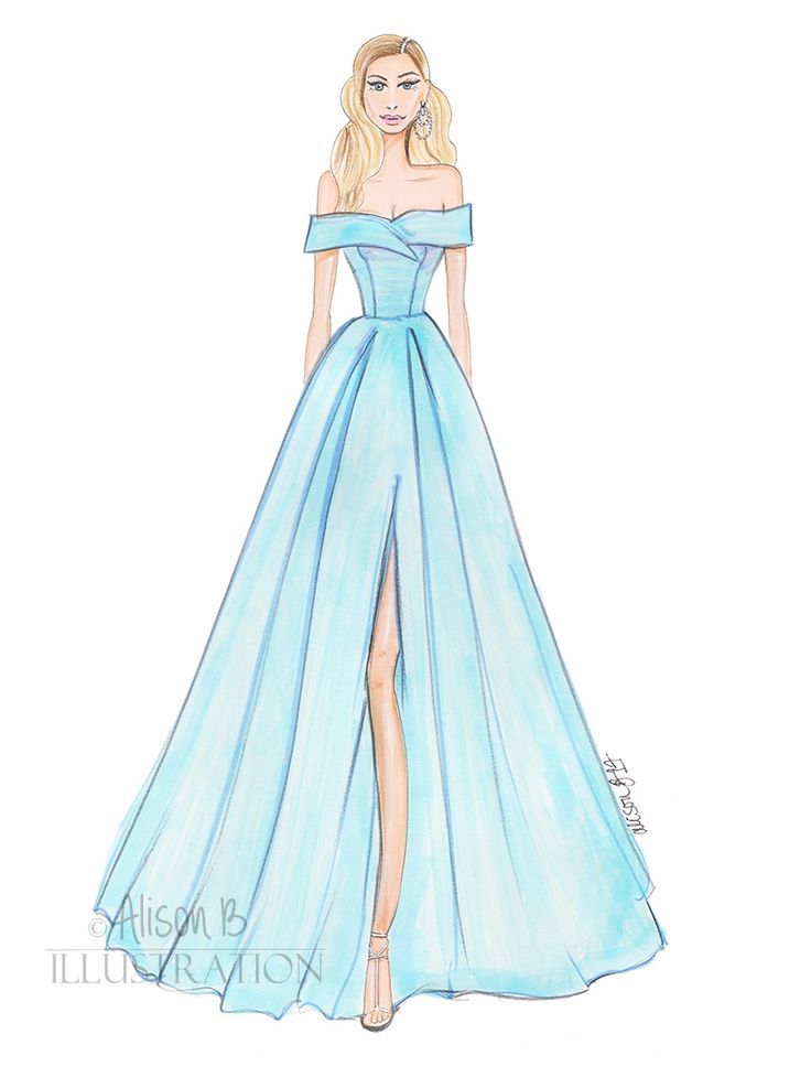 Elsa Hosk wearing Aberta Feretti Cannes 2017, she looks like a real life Disney Cinderella , hand sketched with Copic markers & winsor & newton watercolor