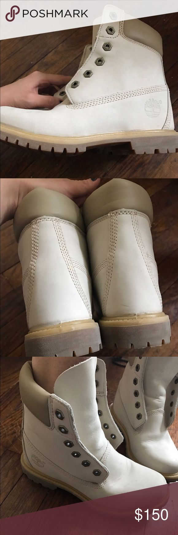 White timberlands! White nubuck timberlands with internal wedge. Don't fit me right but are super cute and perfect for winter. Worn once!! Timberland Shoes Winter & Rain Boots