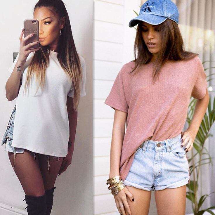Women Loose O-neck Short Sleeve Sexy Side Splits Long Hem Style Tops China Cheap T-shirt Lady White Solid Tops for Gift