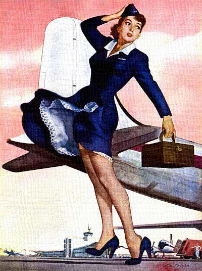 Stewardess, art by Ren Wicks - 1952