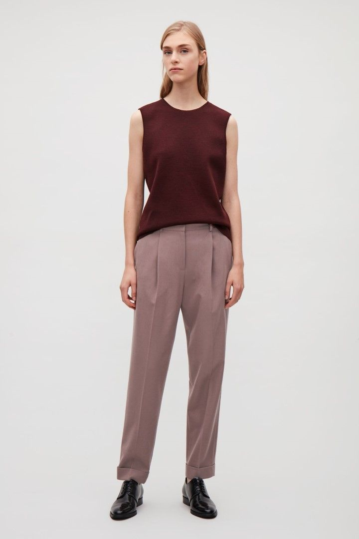 COS image 1 of Tapered trousers in Dusty Pink