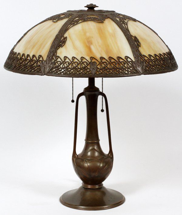 American art nouveau style slag glass table lamp on