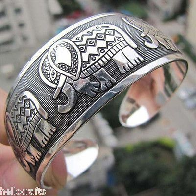 Womens Retro Ethnic Carved Elephant Tibetan Silver Wide Cuff Bracelet Bangle