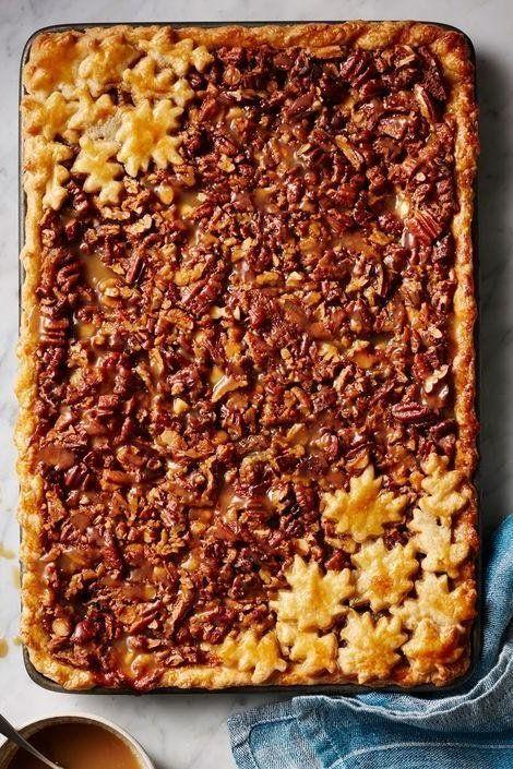 White Chocolate and Bourbon Pecan Slab Pie with Caramel Sauce