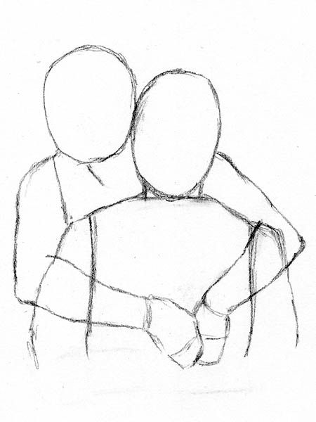 how to draw people hugging from behind the back in 2019