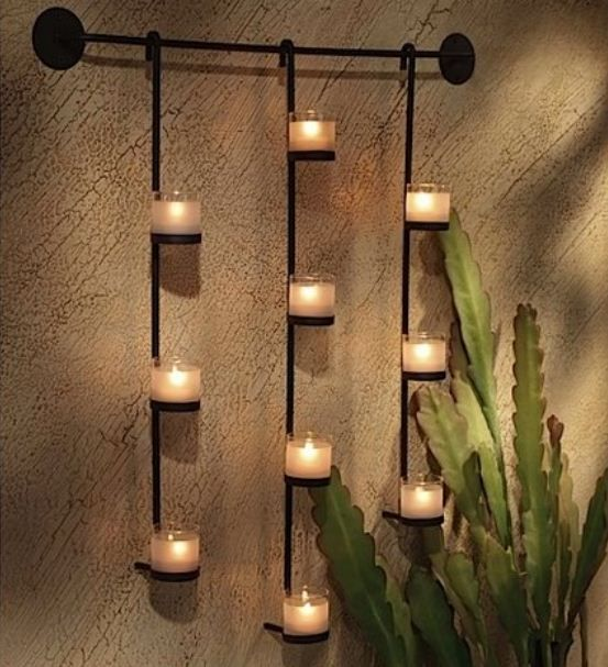 Candle Wall Decor 5 Long Lights SconcesHanging (With ... on Decorative Wall Sconces Candle Holders Chrome Nickel id=66748
