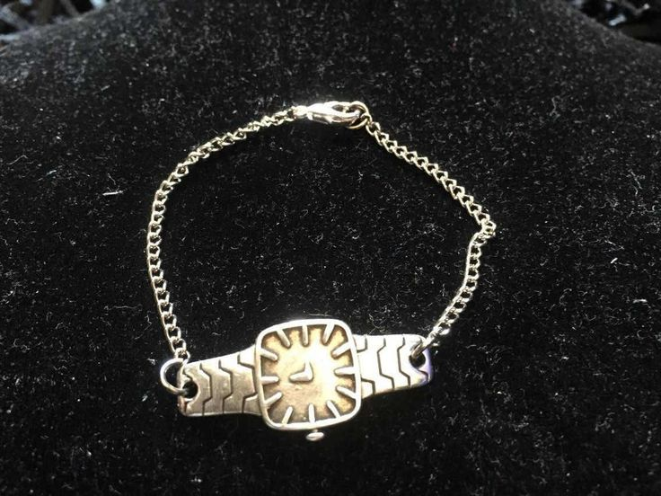 Silver plated watch bracelet with chain - Watch bracelet by pacforme on Etsy