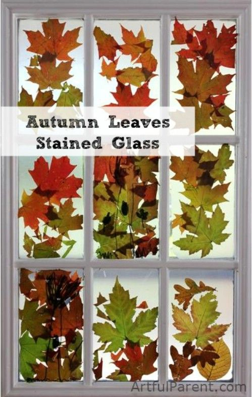 Autumn Leaf Stained Glass (sticky contact paper and leaves)  Put them together like a sandwich and you've got an easy fall preschool craft!!!!