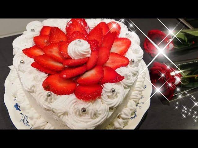 كيكة عيد الحب محشية كريمة وفواكة بأبسط المكونات والطعمة روعة Desserts Food Cake
