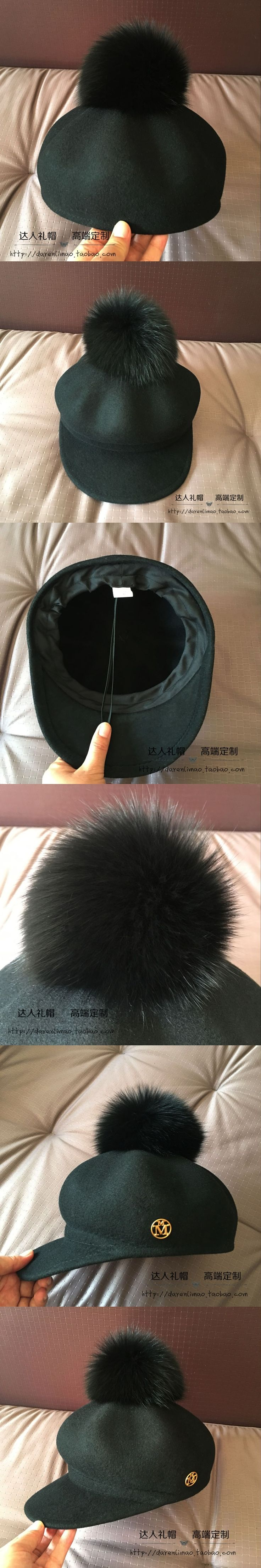 Han edition removable really fox hair bulb octagonal cap wool double gold metal logo homburg parent-child model
