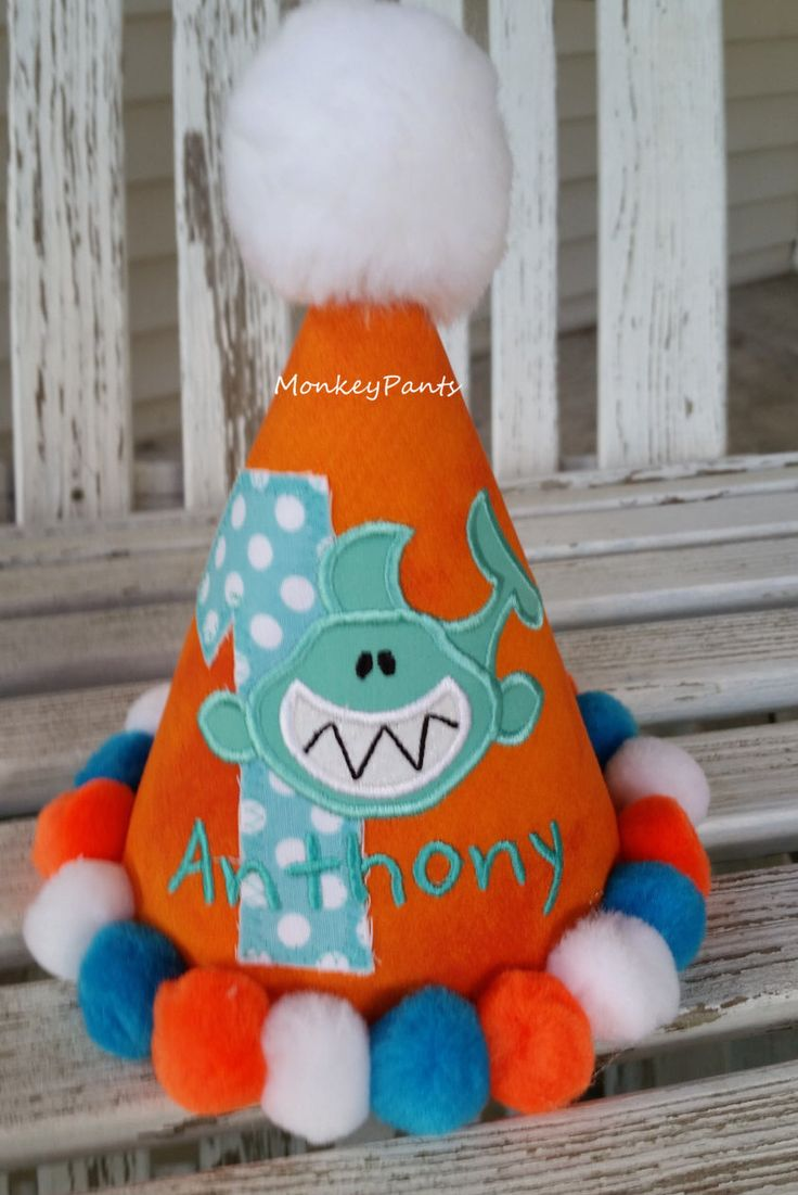 Boys 1st Birthday Shark Hat  - Shark Birthday Party -Boys Shark Hat - Shark Pool Party - Orange Birthday Hat - Photo Prop by MonkeyPantsPartyHats on Etsy https://www.etsy.com/listing/462357905/boys-1st-birthday-shark-hat-shark