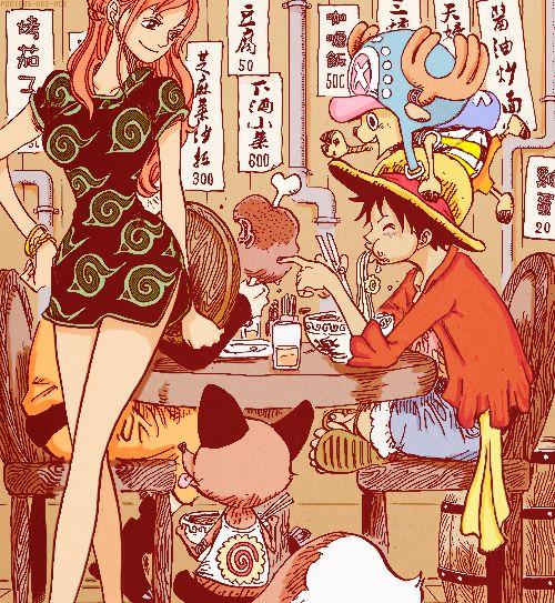 Naruto, Luffy and Nami