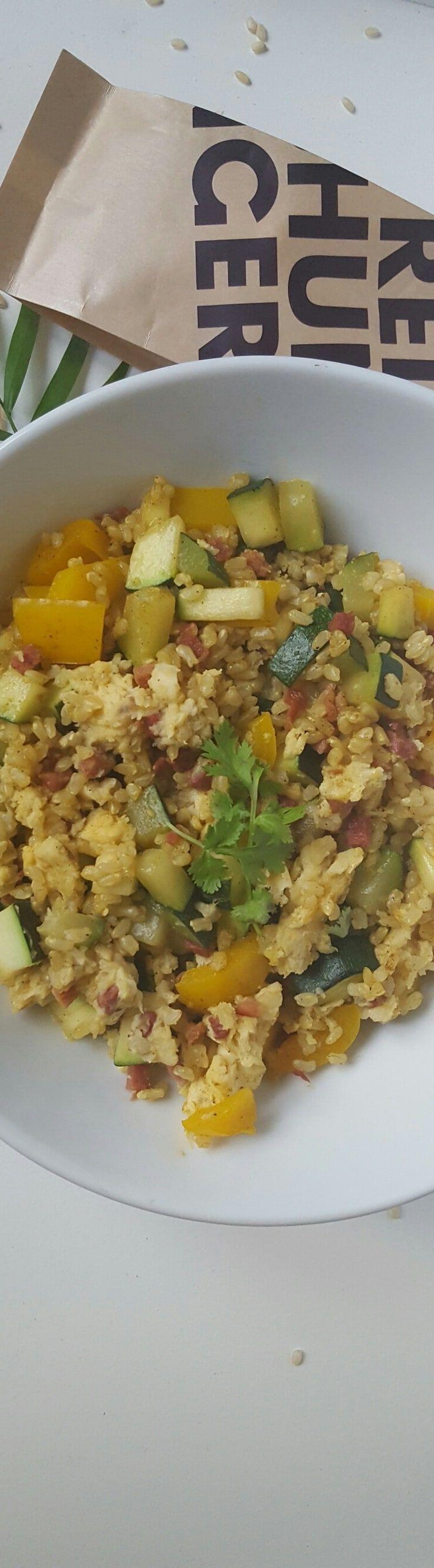 Gebratener Reis mit Ei - mit Schinken und Gemüse