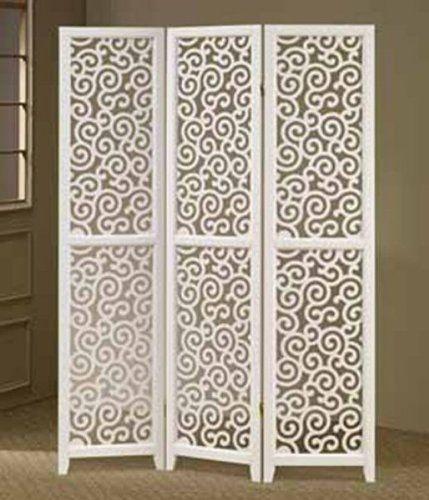 3 Panel White Swirl Design Screen Room Divider Null Http