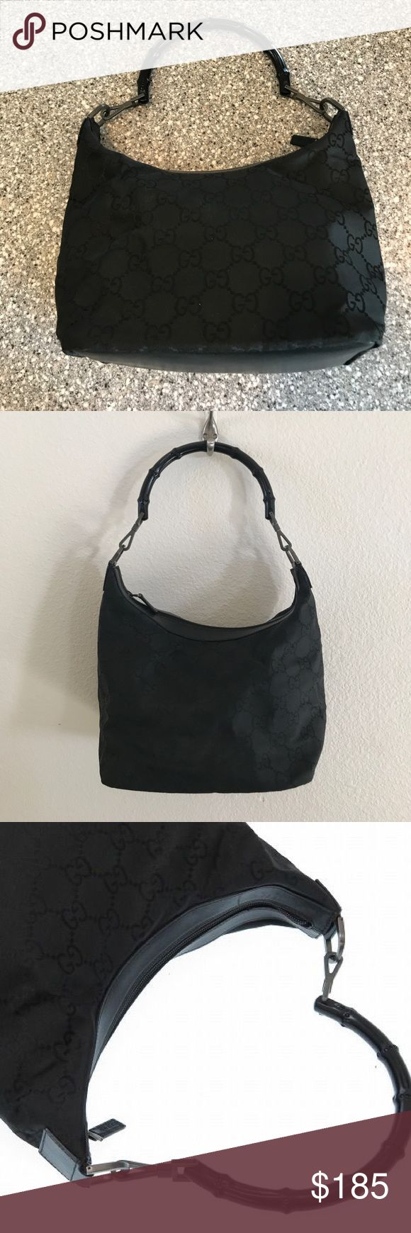 Authentic Gucci Bamboo Purse Used and in amazing condition. Only sign of use is a couple of minor scratches on the bottom of the bag. Lighting is hard to get an awesome picture of this stunning bag. It's super pretty. Medium sized Tote with tones of room in it. I don't do silly lowball offers and I never trade. Gucci Bags