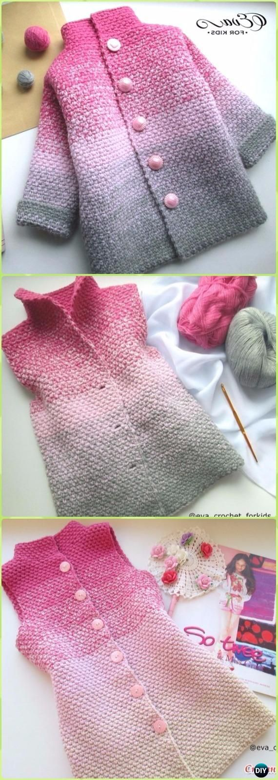 Crochet Glamorous Beauty Ombre Baby Cardigan Free Pattern Video - Crochet Kid's Sweater Coat Free Patterns