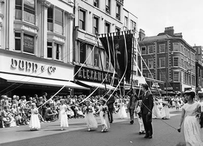 Children carrying a banner in the Whit Walk at Manchester, Greater Manchester. June 1960 #Vintage #Classic #Old #Retro #Historic #OldFashioned #Manchester #MCR #NorthWest #photos #photographs #pictures #images #prints