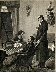 К. Брюллов, М. Глинка и Н. Кукольник. Гравюра с рисунка П. А. Каратыгина, сделанного с натуры в 1842 году.