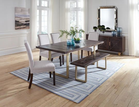 """Navarre Dining Table  - 40"""" x 84"""" solid wood table top in distressed, dark walnut finish and accented by an antique gold bent metal table base."""