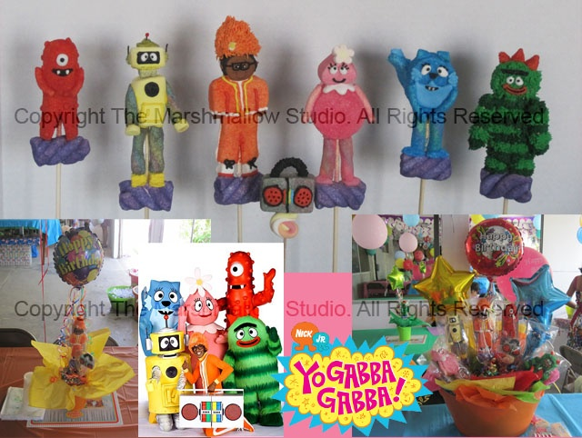 Inspired Yo Gabba Gabba birthday party favors and centerpieces #yogabbagabba #marshmallows #pops #favors