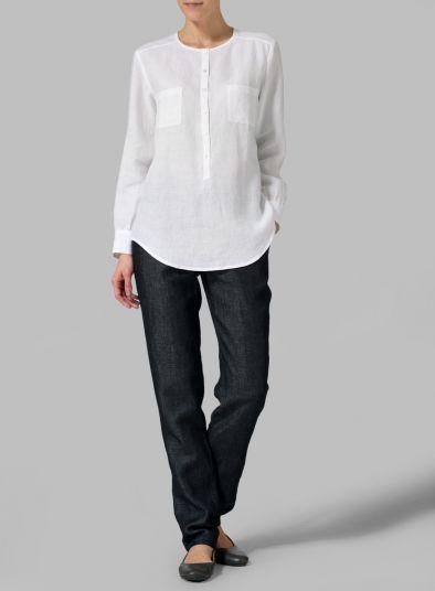 MISSY Clothing - Linen Round Neck Long Sleeve Shirt