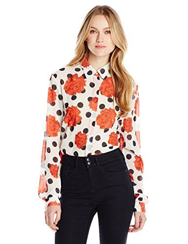 Wear To Work Womens Falling Rose Button Front Shirt  www.weartowork.us #weartowork #Blouse