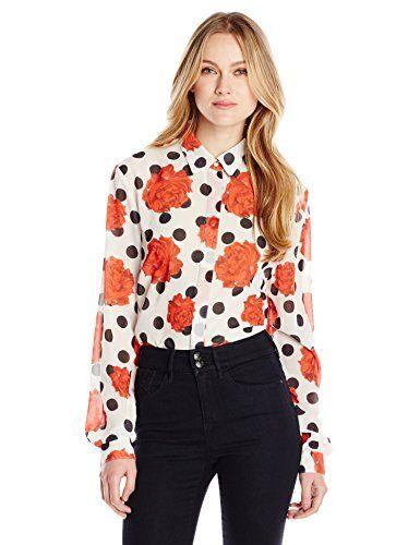 Wear To Work Womens Falling Rose Button Front Shirt  www.weartowork.us #weartowork #Blouse