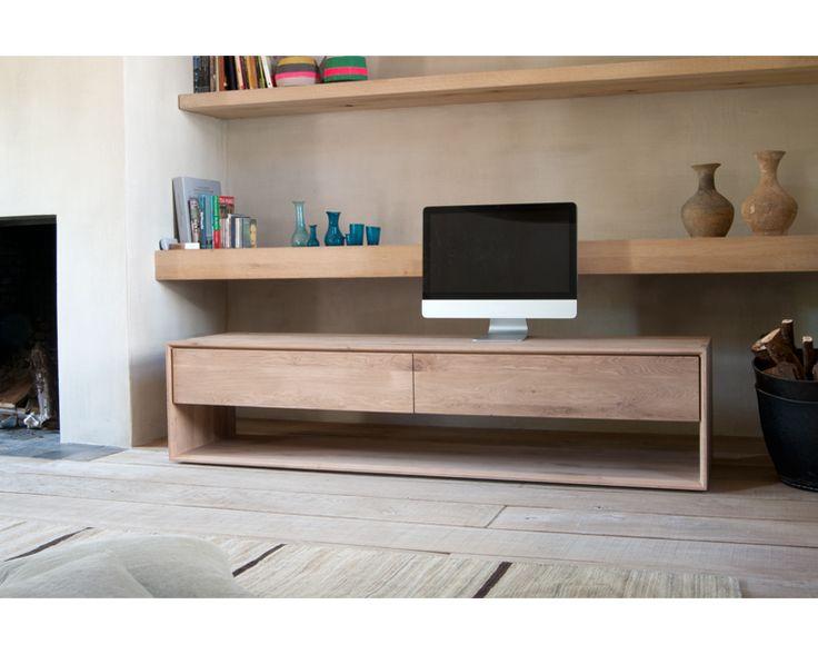 Ethnicraft© - Products » Entertainment »Oak Nordic TV cupboard - 1 flip-down door 1 drawer