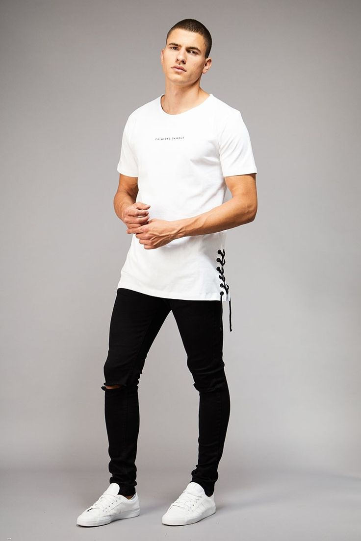 LACE TEE - WHITE/BLACK