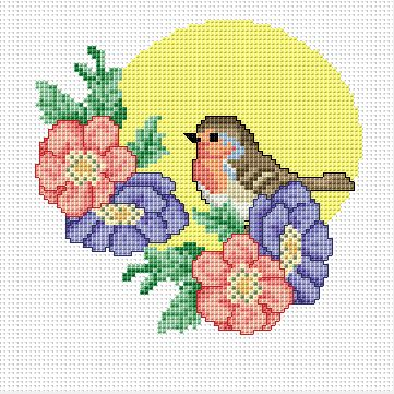 Robin with flowers free cross stitch pattern