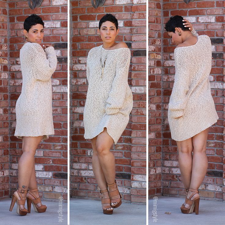 Sweater Dress + Chunky Heels - Mimi G Style