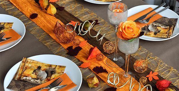 Herbstliches Braun  Orange  tischdeko  Tischdeko