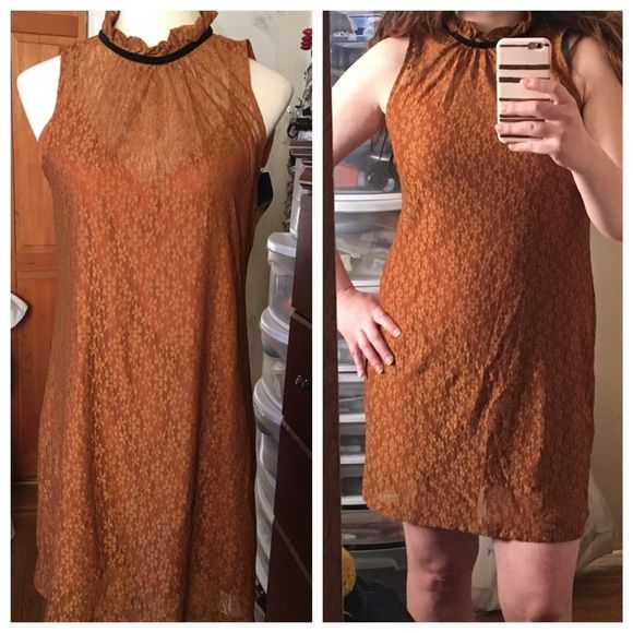 "Zara Romantic Brown Lace dress with ribbon Brand new never worn lace dress! Has beautiful lining! 33"" long. I would say can fit a M or a L. Zara Dresses Mini"