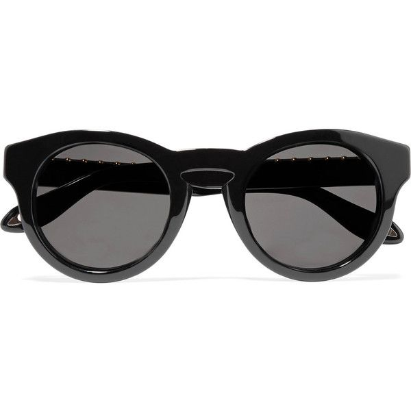 Givenchy - Round-frame Studded Acetate Sunglasses (€200) ❤ liked on Polyvore featuring accessories, eyewear, sunglasses, glasses, black, round frame sunglasses, givenchy eyewear, uv protection sunglasses, lens glasses and studded glasses