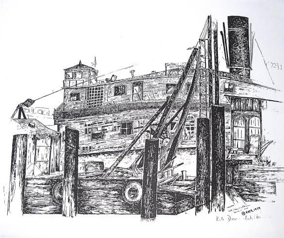 The Sausalito Waterfront Signed Print of the San Rafael Ferry with Pile Driver 1977   Prints
