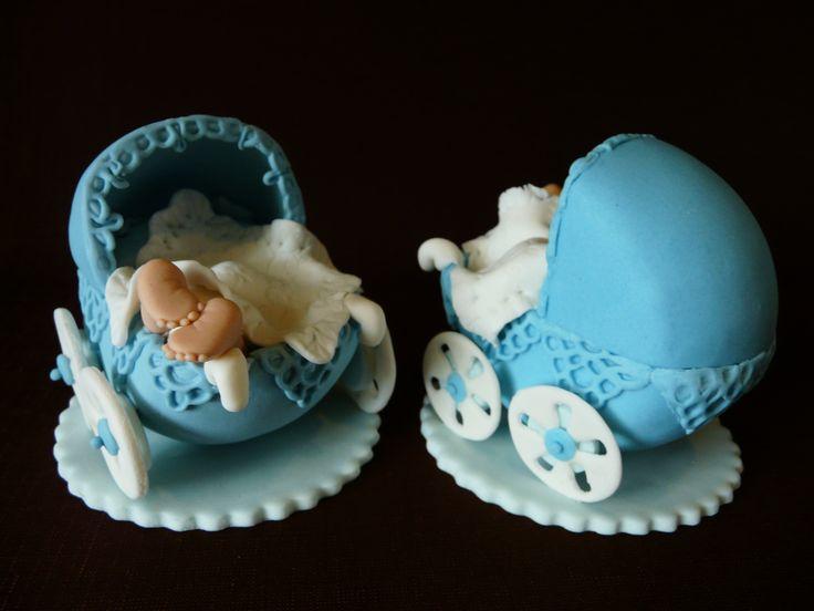 Ozdoba cukrowa - wózek z dzieckiem Gumpaste Fondant